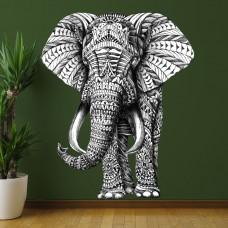 Стикер Слон черно-белый