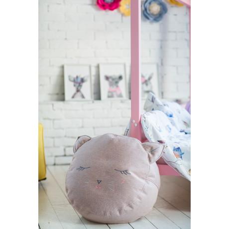 Детский пуф-котик с вышивкой розовый