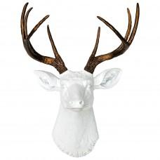 Олень белый бронзовые рога