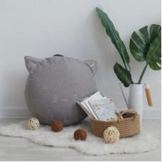 Детский пуф-котик с вышивкой (рогожка)